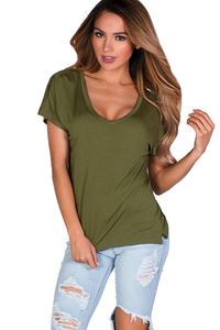 """Kelly"" Avocado Green Super Soft Oversized Ladies V Neck T Shirt image"