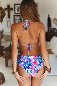 Pink Tropical Indigo Triangle Top image