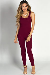 """Aaliyah"" Burgundy Jersey Tank Catsuit Jumpsuit image"