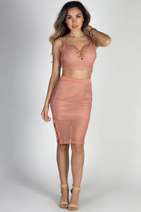 """Let's Dance"" Terra Cotta Mesh Net Lace Up Two Piece Dress image"