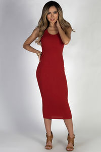 """Biker Babe"" Fire Red Racer-back Ribbed Dress image"
