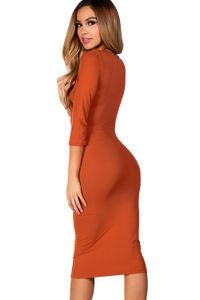 """Margo"" Orange Spice 3/4 Sleeve Jersey Bodycon Midi Dress image"
