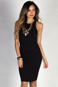"""Body Talk"" Black Jersey Bodycon Tank Midi Dress image"