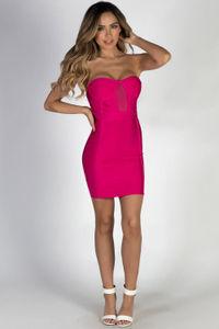 """All About Me"" Fuchsia Sweetheart Bandage Mini Dress image"