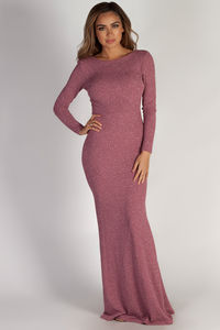 """""""Above it All"""" Mauve Shimmer Long Sleeve Maxi Dress image"""