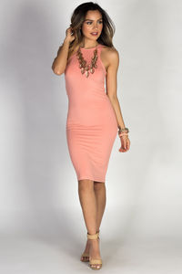 """Body Talk"" Peach Jersey Bodycon Tank Midi Dress image"