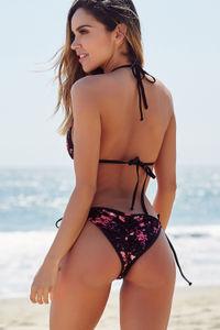 Laguna Pink Floral Velvet & Black Classic Bikini Top image
