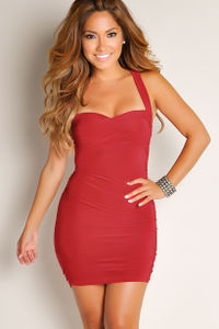 """""""Dominique"""" Red Sweetheart Twist Front Bodycon Short Dress image"""
