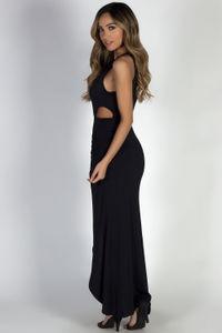"""""""Bad at Love"""" Black Sleeveless Side Cutout Maxi Dress  image"""