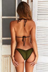 Olive & Black Triangle Bikini Top image