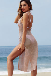 Millionaire Metallic Rose Gold Maxi Cover Up Dress  image