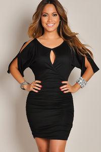 """Fabiana"" Black Keyhole Bodycon Club Dress with Sleeves image"
