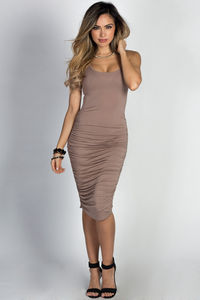 """Fabiola"" Taupe Ruched Bodycon Jersey Tank Midi Dress image"