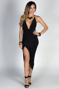 """Lorenza"" Black Strappy Backless Midi Dress with Thigh High Slit image"