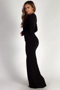 """Divine Feminine"" Black Long Sleeve Deep V Maxi Gown image"