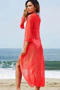 LA Sunrise Coral Crochet Beach Cover Up image