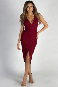 """All My Life"" Burgundy Glitter Sleeveless V-Neck Midi Dress image"