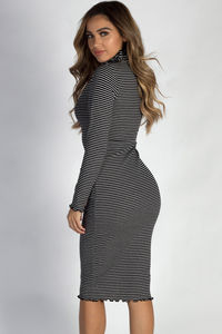 """One Step Ahead"" Black And White Striped Lettuce Hem Mock Neck Dress image"