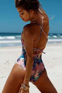 Marilyn Watercolor Palm Tree Back Lace Up One Piece Swimsuit image