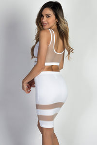 """Zara"" White & Nude Sheer Mesh Two Piece Dress image"