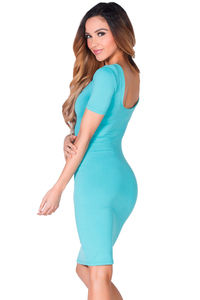 """Prue"" Aqua Blue Short Sleeve Jersey Bodycon Casual Dress image"