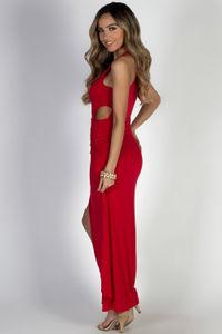 """Bad at Love"" Red Sleeveless Side Cutout Maxi Dress  image"