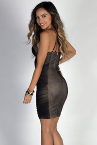 """""""You Can Dance"""" Black Mesh Net Ruched Bustier Cocktail Dress image"""
