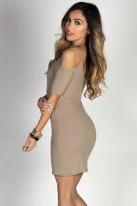 """""""Phoebe"""" Mocha Half Sleeve Strappy Neckline Bodycon Off Shoulder Dress image"""