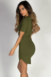 """""""Live it Up"""" Olive Half Sleeve Bodycon Jersey Lace Up Dress image"""