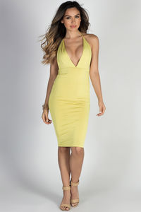 """Miss Thing"" Yellow Plunging V Neck Backless Midi Halter Cocktail Dress image"