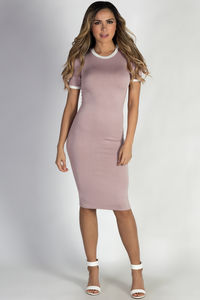 """Elodie"" Mauve Bodycon Ringer Midi Dress with Sleeves image"