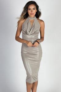 """Can't Dull My Shine"" Metallic Silver Halter Midi Dress image"