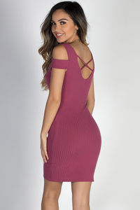 """""""Day & Night"""" Berry Strappy Back Short Sleeve Cold Shoulder Dress image"""