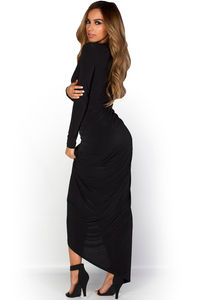 """Vesper"" Black Long Sleeve Plunging Neckline Draped Maxi Gown image"