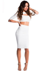 """""""Cassie"""" White Key Hole Cut Out 3 Sleeve Two Piece Midi Crop Top Dress image"""