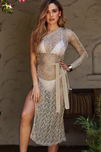Gold Sheer Metallic Crochet One Shoulder Cover Up image