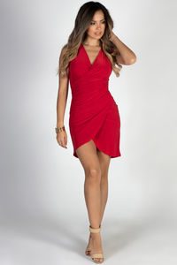 """""""In Your Arms"""" Red Sleeveless Bodycon Wrap Dress image"""
