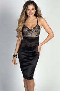"""Chrissy"" Black Satin & Lace Sexy Bodycon Midi Dress image"