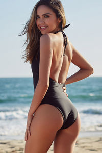 Heather Black Keyhole Halter One Piece Swimsuit image