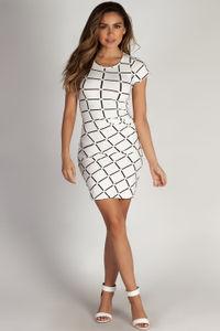 """Social Club"" White Grid Short Sleeve Bodycon Dress image"