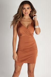 """Ask About Me"" Mustard Spaghetti Strap Draped Asymmetrical Mini Dress  image"