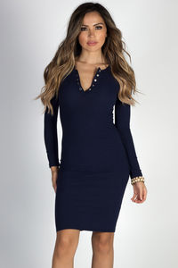 """""""Seattle's Finest"""" Navy Ribbed Bodycon Henley Dress image"""