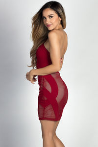 """Nova"" Burgundy Fishnet Cut Out Sexy Strapless Mini Dress image"