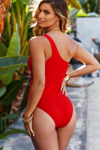 Foxglove Red Sheer One Shoulder One Piece image