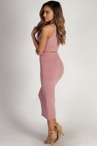 """Mamacita"" Blush Cropped Tank Top And Midi Skirt Set image"