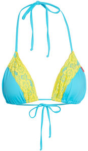 Aqua & Yellow Edge Lace Triangle Top  image