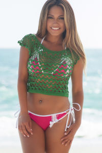Lava Flow Kelly Green Crochet Crop Top Cover Up image