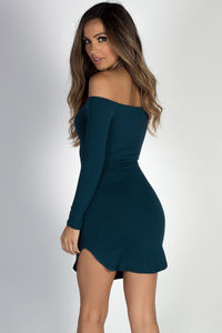 """""""Without Words"""" Peacock Teal Off Shoulder Dolphin Hem Mini Dress image"""