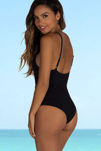 Chamomile Black Plunging Crisscross Cut Out One Piece image