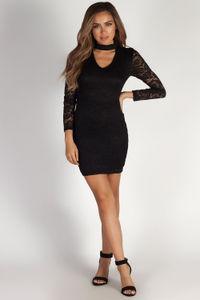 """""""Lucid Dreams"""" Black Cut Out Collar Lace Dress image"""